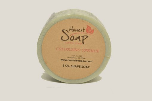 Colorado Spruce Shave Soap by Honest Soap Company, Henderson, Colorado