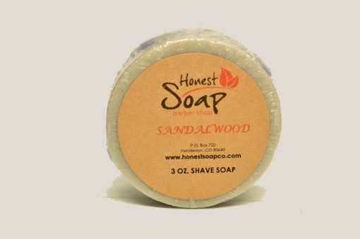 Sandalwood Shave natural soap by Honest Soap Company of Henderson Colorado