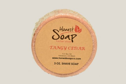 Tangy Cedar Shave natural soap by Honest Soap Company of Henderson Colorado